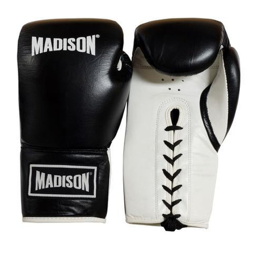 Madison Platinum Lace-up Boxing Gloves - Black/White Boxing - Sports Grade