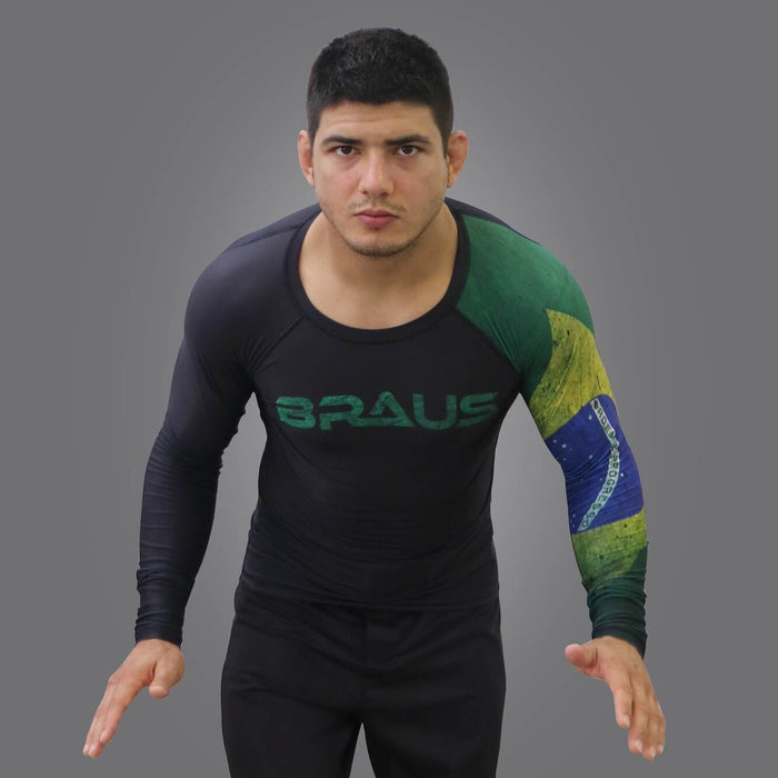 Braus Fight - Brazil Rash Guard – Long Sleeve - Sports Grade