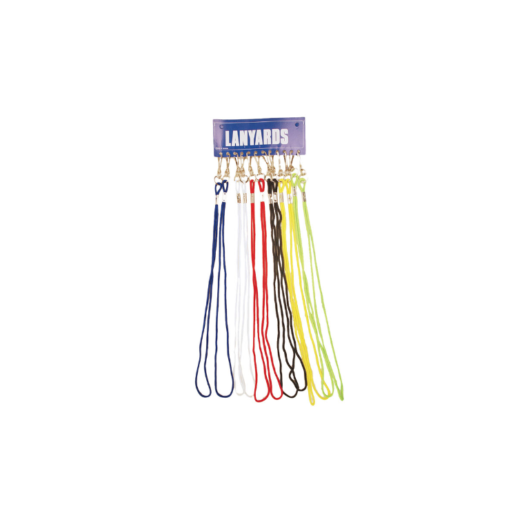 Patrick Whistle Lanyards Card Of12 - Mixed Colours - Sports Grade