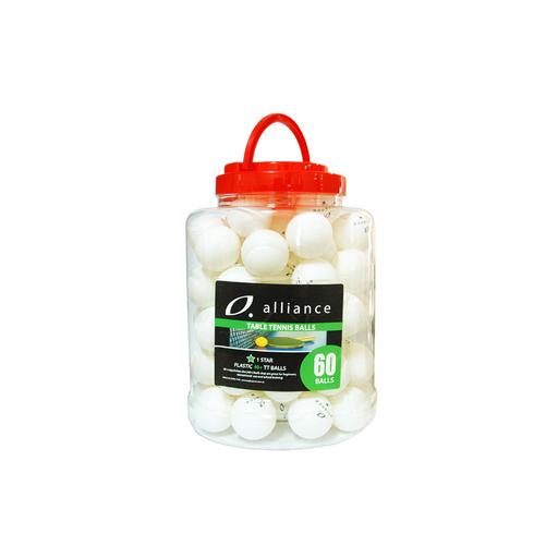 Alliance Table Tennis Balls 40+ Abs 1 Star White - Bucket Of 60 - Sports Grade
