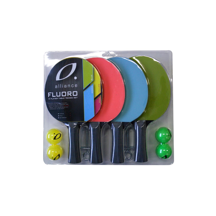 Alliance 4 Player Fluoro Table Tennis Set - Sports Grade
