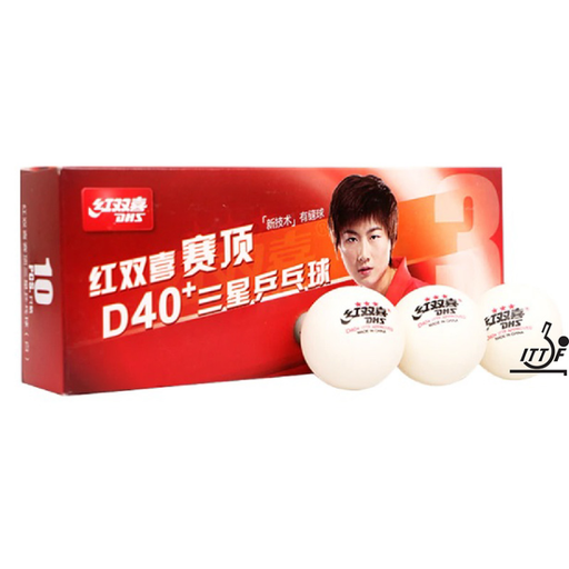 Dhs Table Tennis Balls D40+ 3 Star Abs - Box Of 10 - Sports Grade