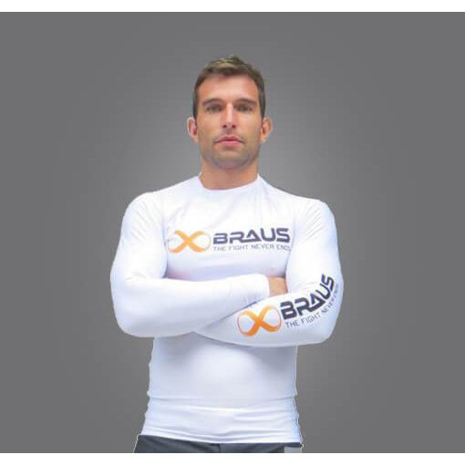 Braus Fight - White Rash Guard – Long Sleeve - Sports Grade
