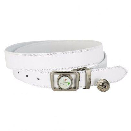 Leather Golf Belt with Magnetic Golf Ball Marker – White - Sports Grade