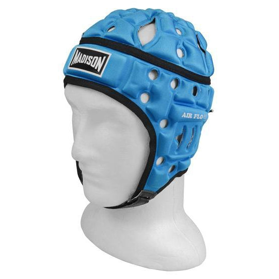 Madison Air Flo Neon Headguard - Sky Blue Rugby League NRL - Sports Grade