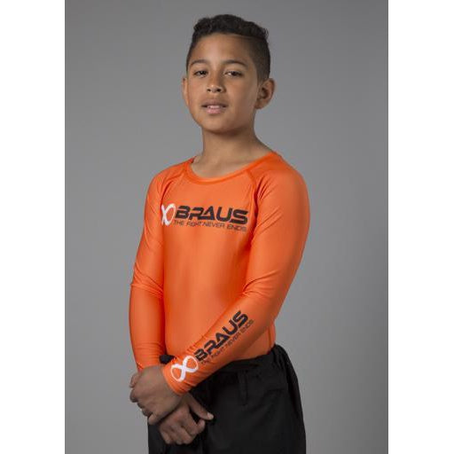 Braus Fight - Orange Long Sleeve Rash Guard – kids - Sports Grade