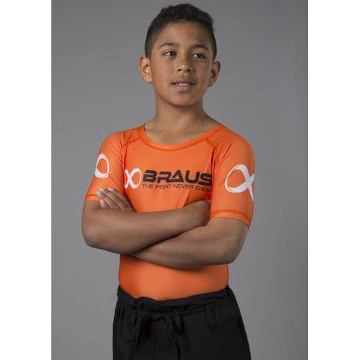 Braus Fight - Orange Short Sleeve Rash Guard – kids - Sports Grade