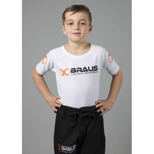 Braus Fight - White Rash Guard Short Sleeve – kids - Sports Grade