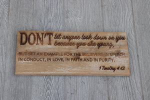 Engraved on plank -1 Timothy 4:12