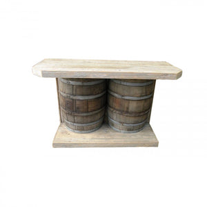 BAR-DOUBLE-WINE BARREL W/2 DOORS