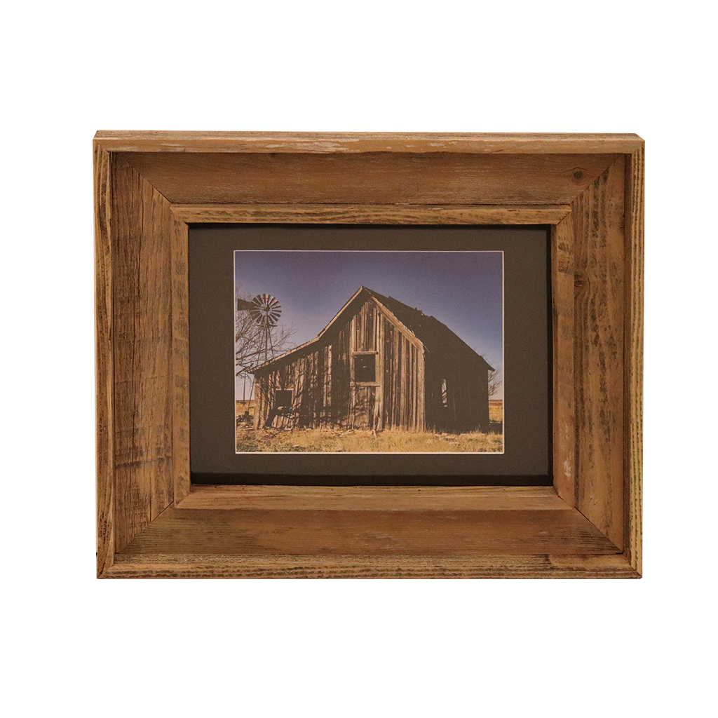 Wooden Double Frame Matte Image Barn Windmill