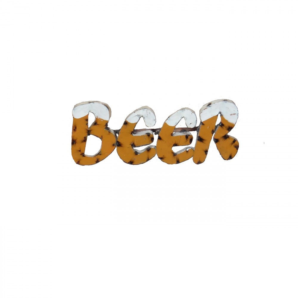 BEER(GOLD W/FOAM)--METAL SIGN