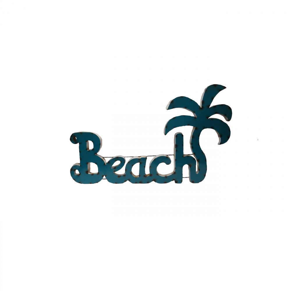 BEACH W/PALM TREE-SMALL--METAL SIGN