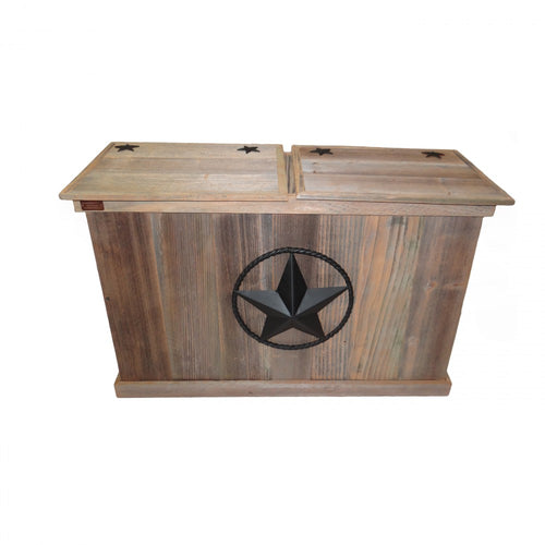 TRASH CAN - DOUBLE - STEEL STAR W/ROPE - BLACK
