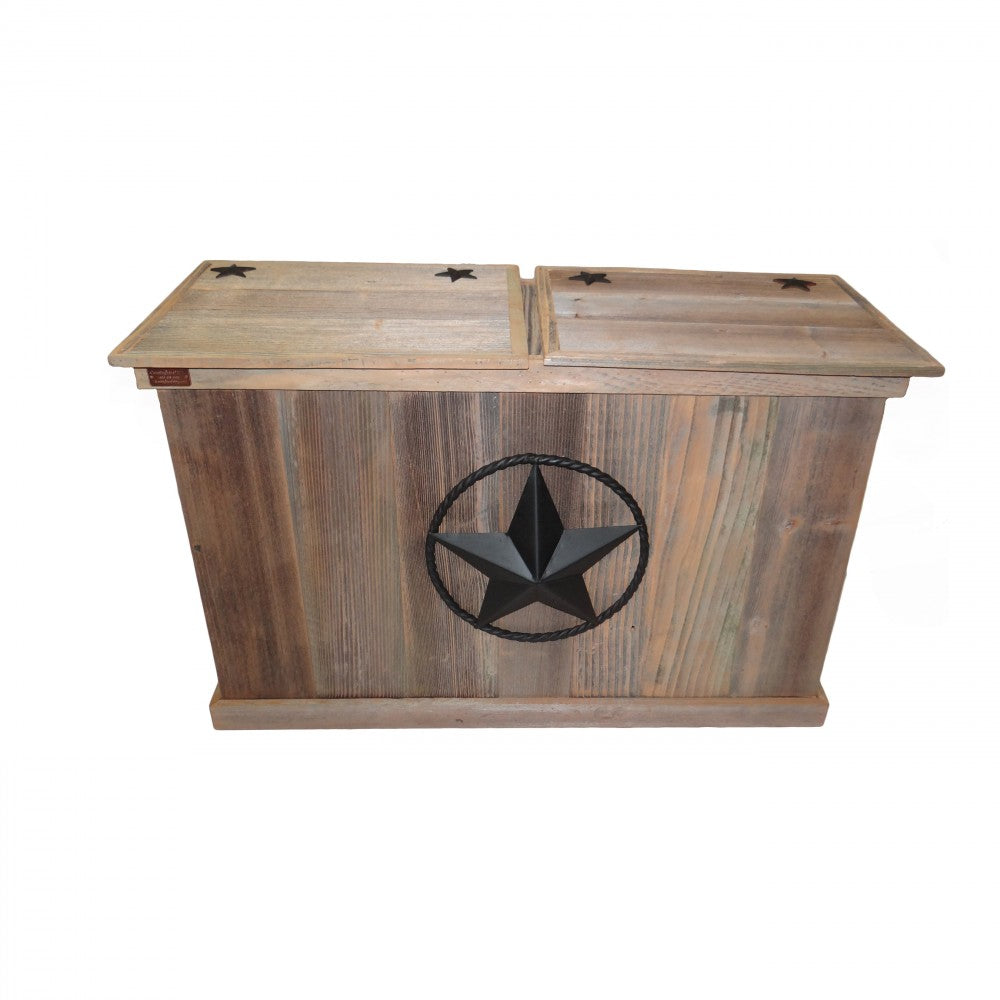 Trash Can - Double - Steel Star w/ Rope - Black