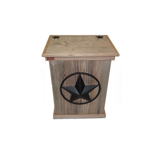 TRASH CAN - SINGLE - STEEL STAR W/ROPE - BLACK