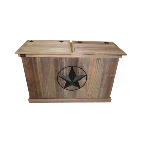 Rustic Double Trash Can - Barbed Wire - HRTCDB004B