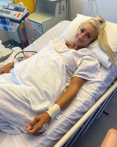 Lauren Simpson in hospital bed