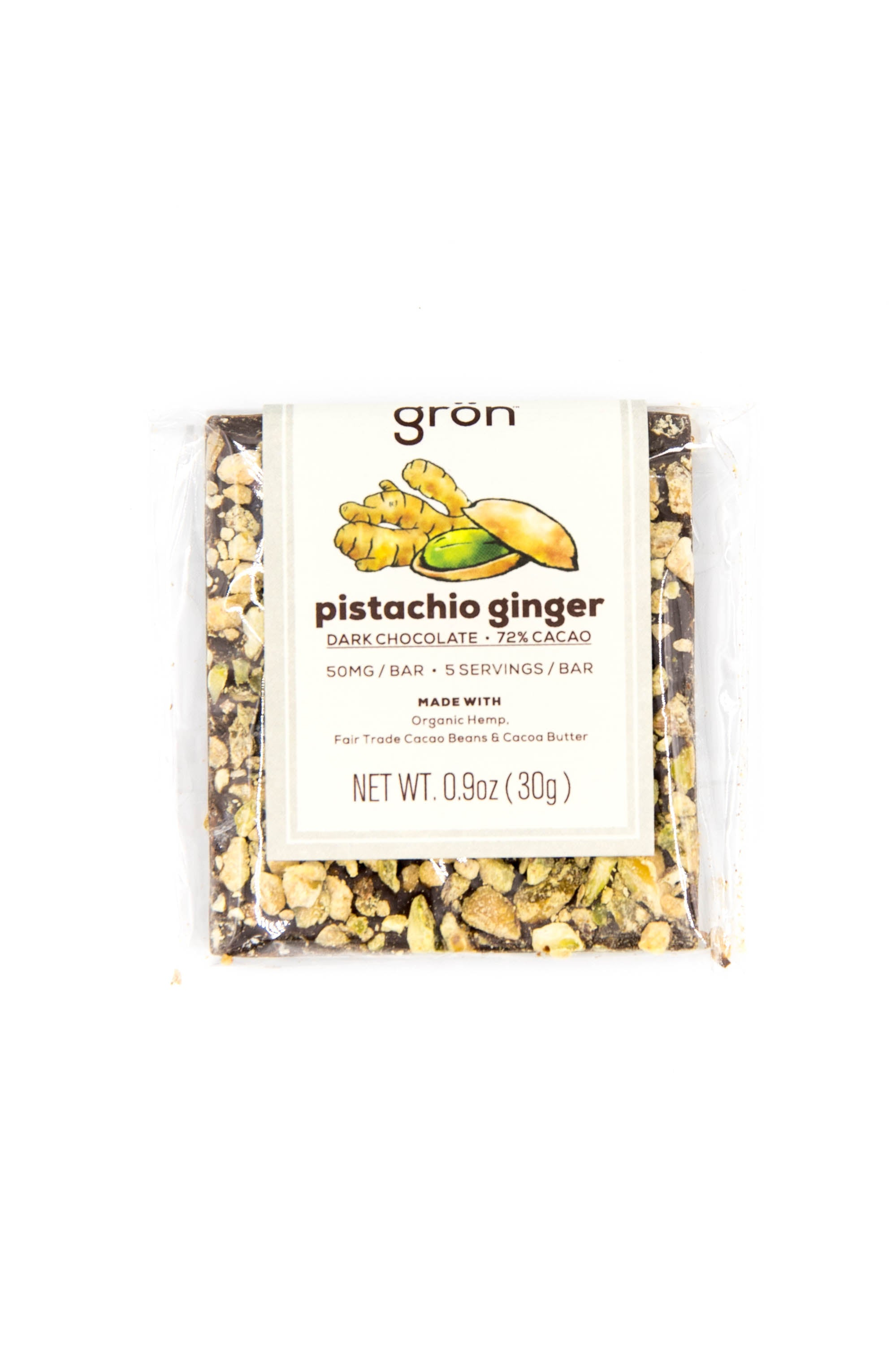 50mg CBD Pistachio Ginger Dark Chocolate Bar