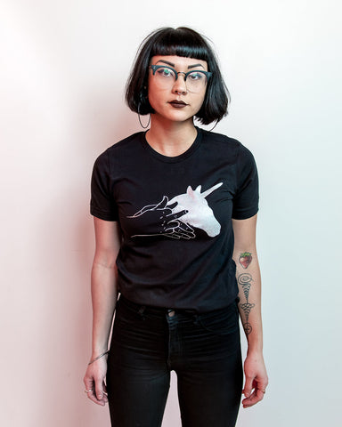 Middle Finger Unicorn Shadow Puppet T-shirt (XS-4X)