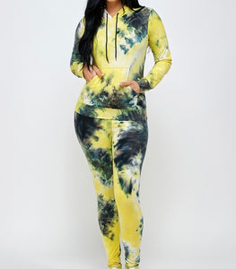 Tye Dye Vibes Two Piece Set-Yellow