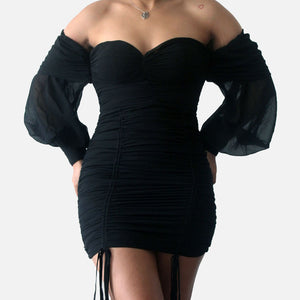 A Night Out Off Shoulder Dress-Black
