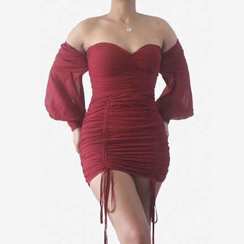 A Night Out Off Shoulder Dress-Wine