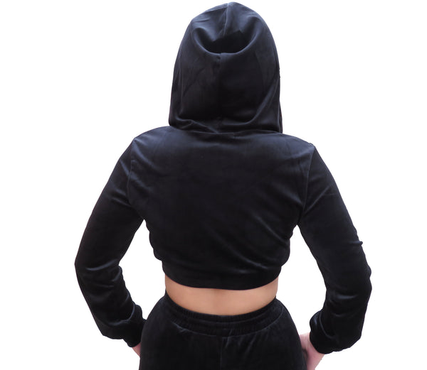 Run It Up Velvet Jogging Suit- Black