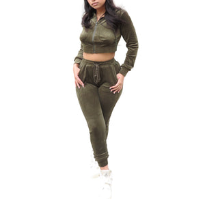 Run It Up Velvet Jogging Suit- Olive
