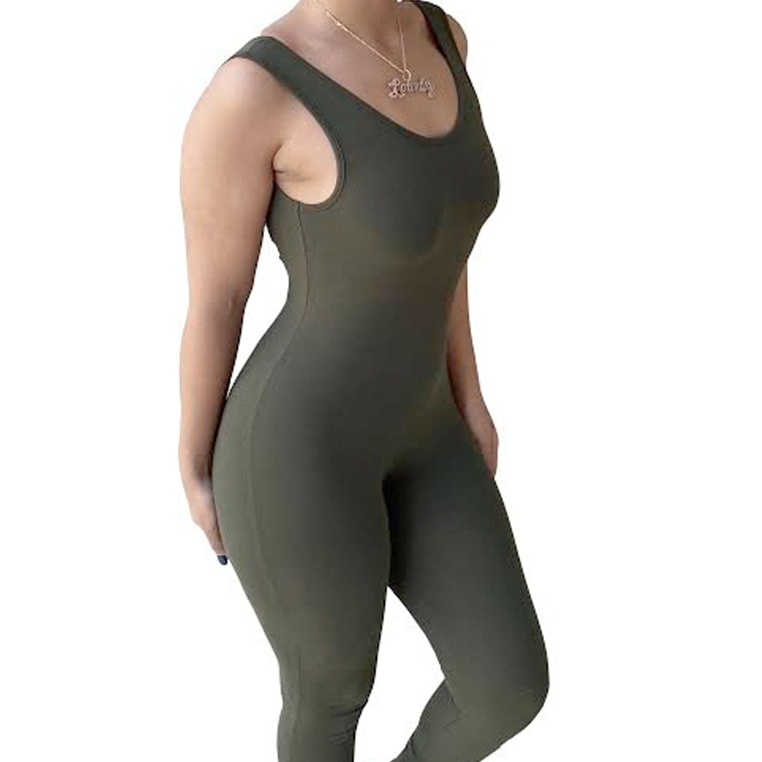 Like A Glove One Piece Jumpsuit- Olive