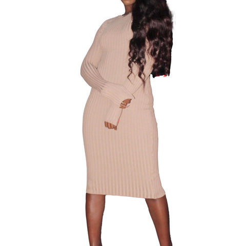 Got Me Twisted Midi Dress-Camel