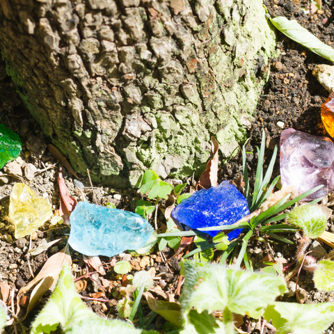 Healing crystals around a tree