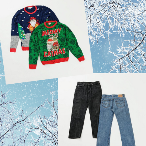 Ugly Christmas Sweaters and Unisex Jeans Outfit Idea
