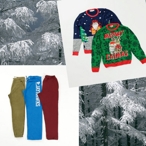 Ugly Christmas Sweater and sweatpants outfit idea