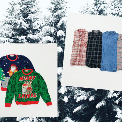 Ugly Christmas Sweater and Flannel Shirt outfit idea