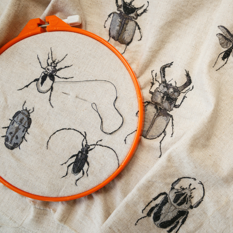 Embroidery of insects