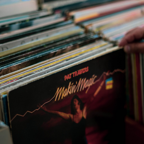 Vinyl records from a thrift-store to give as a sustainable gift