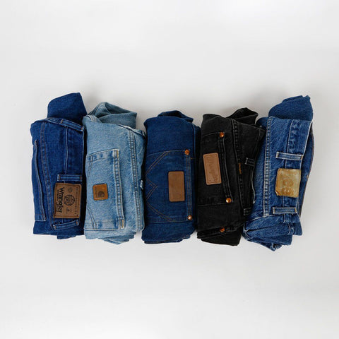 thrifted-denim-jeans-wrangler-levis-lees-rolled-up-in-a-line