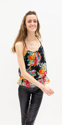 summer-tops-secondhand-tank-top-floral-pattern-with-faux-leather-pants-summer-style-front-facing
