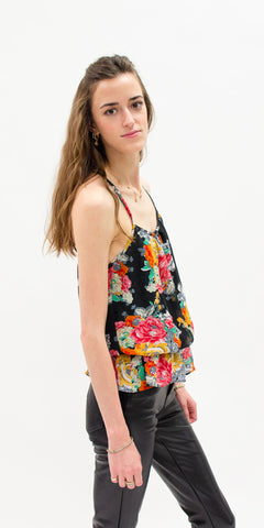 summer-tops-secondhand-tank-top-floral-pattern-with-faux-leather-pants-summer-style-side-facing