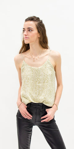 summer-tops-secondhand-tank-top-gold-sequins-with-faux-leather-pants-summer-style-side-facing