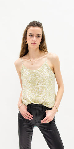 summer-tops-secondhand-tank-top-gold-sequins-with-faux-leather-pants-summer-style-front-facing