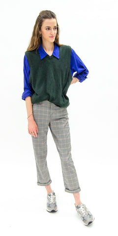 non-binary-fashion-gender-fluid-secondhand-professional-apparel-thrifted-sweater-vest-button-down-female-model