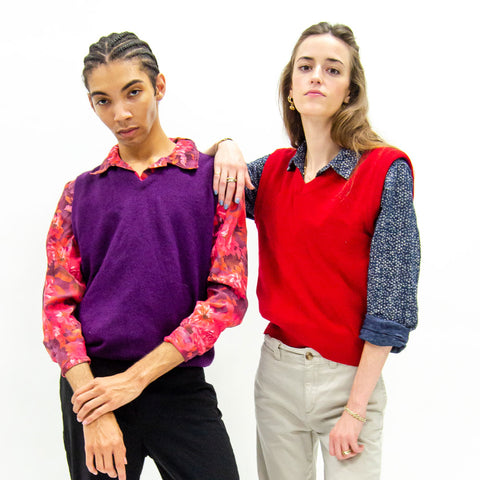 non-binary-fashion-gender-fluid-thrifted-sweater-vest-button-down-models