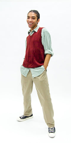 non-binary-fashion-gender-fluid-secondhand-professional-apparel-thrifted-sweater-vest-button-down-male-model
