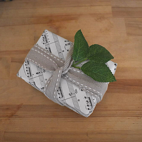 gift wrapped in sheet music