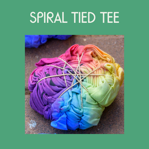 A tied t-shirt with dye for making a tie dye shirt