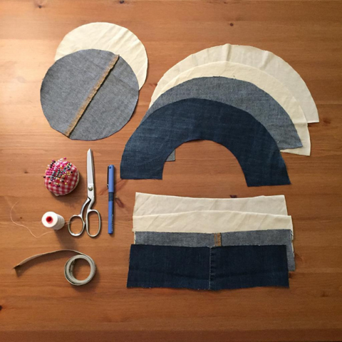 Fabric pieces and supplies for a DIY Bucket Hat