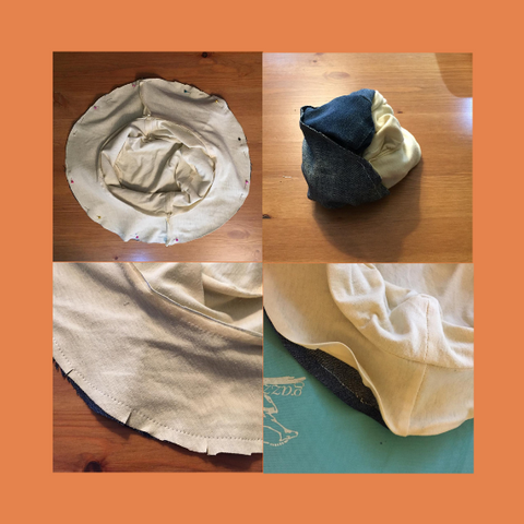 Finishing steps for making a DIY bucket hat