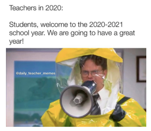 Teachers wearing hazmat suits The Office back to school meme